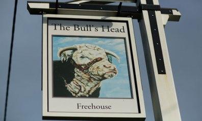 Pub sign for Bull's Head, Mottram St Andrew, Cheshire